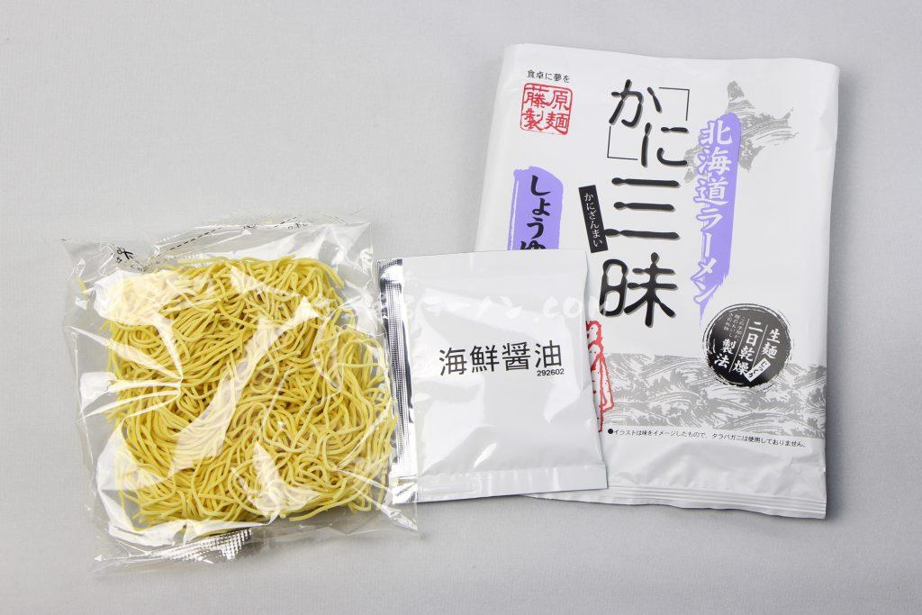 「北海道ラーメン かに三昧 しょうゆ味」(藤原製麺)の麺とスープ