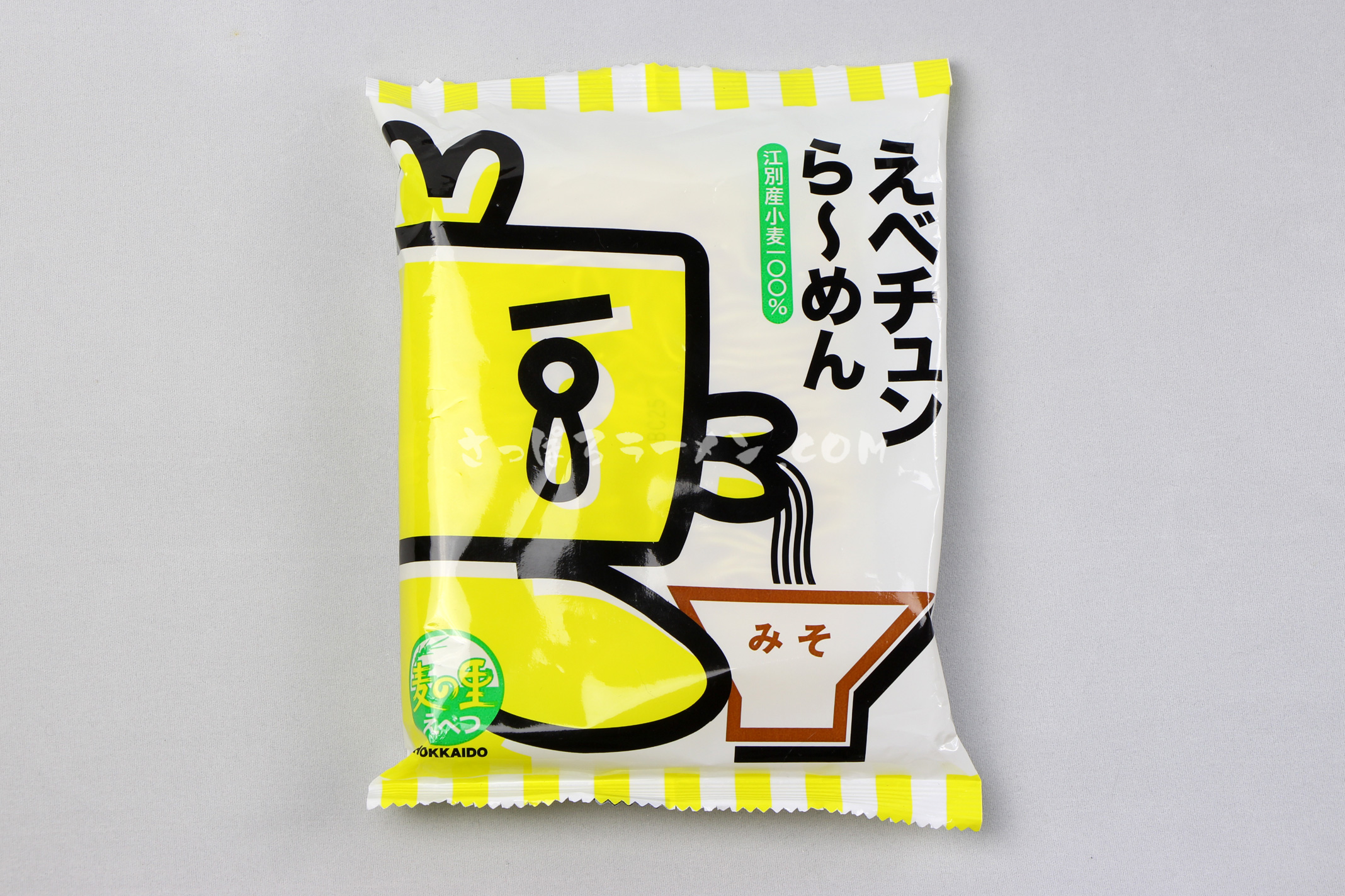 江別産小麦100%のツルもち麺「えべチュンら~めん(みそ)」(菊水)のパッケージ(表)