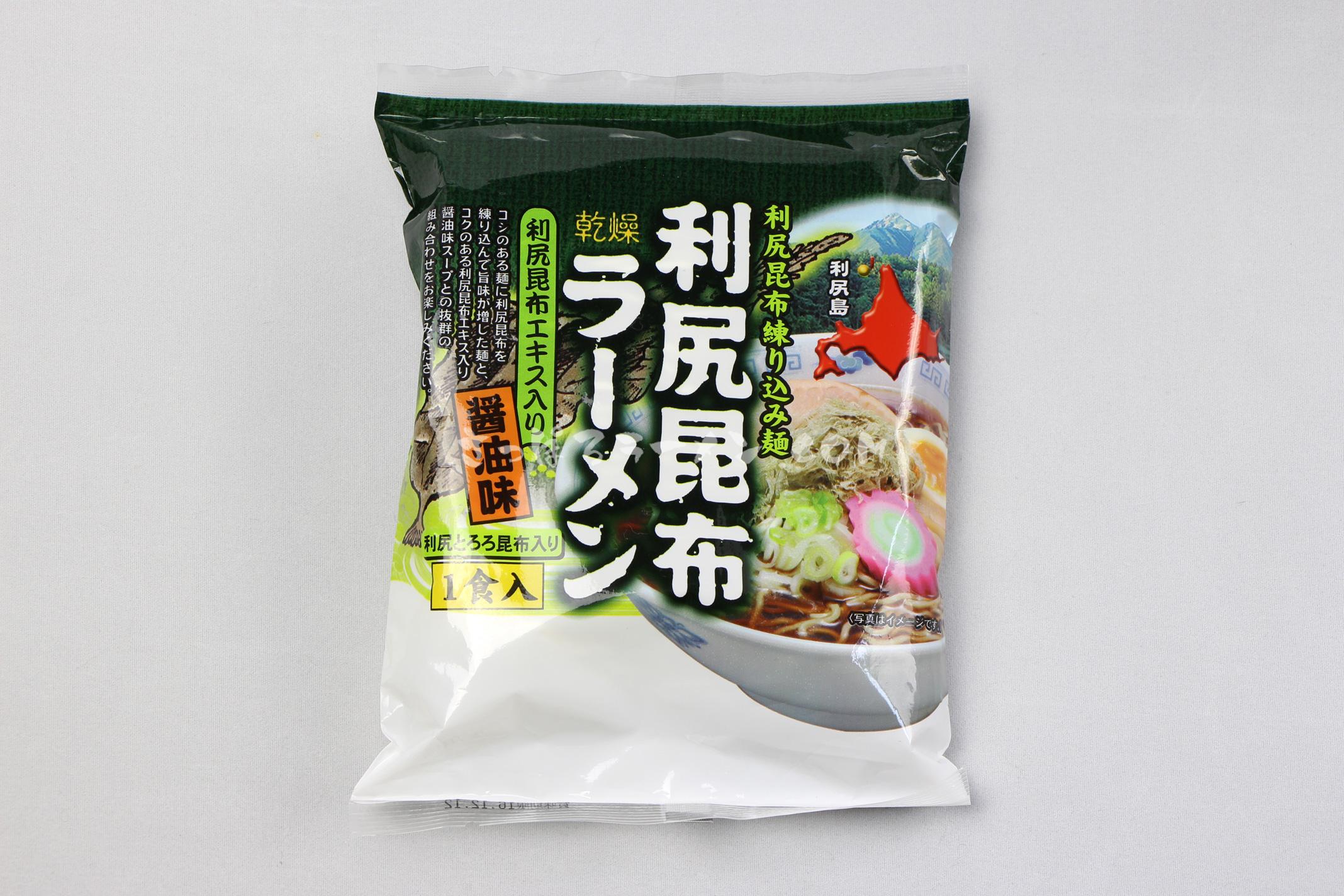 「利尻昆布ラーメン 醤油味」(有限会社ミツヤ利尻店)のパッケージ(表)