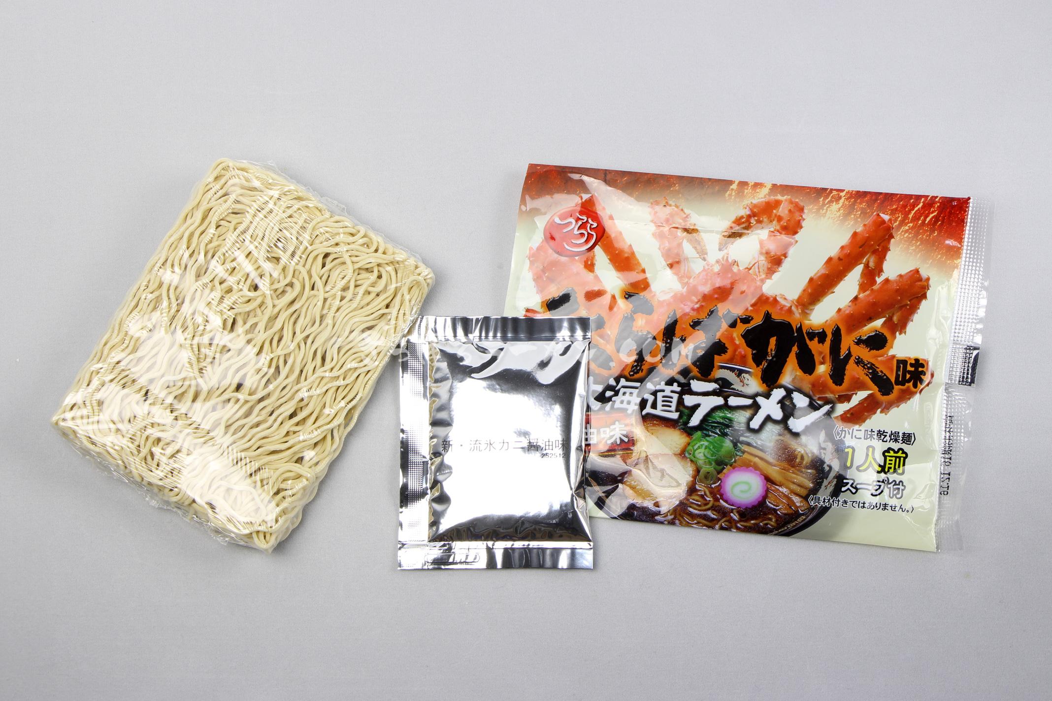 「新・たらばがに北海道ラーメン しょうゆ味」(つらら)の麺とスープ