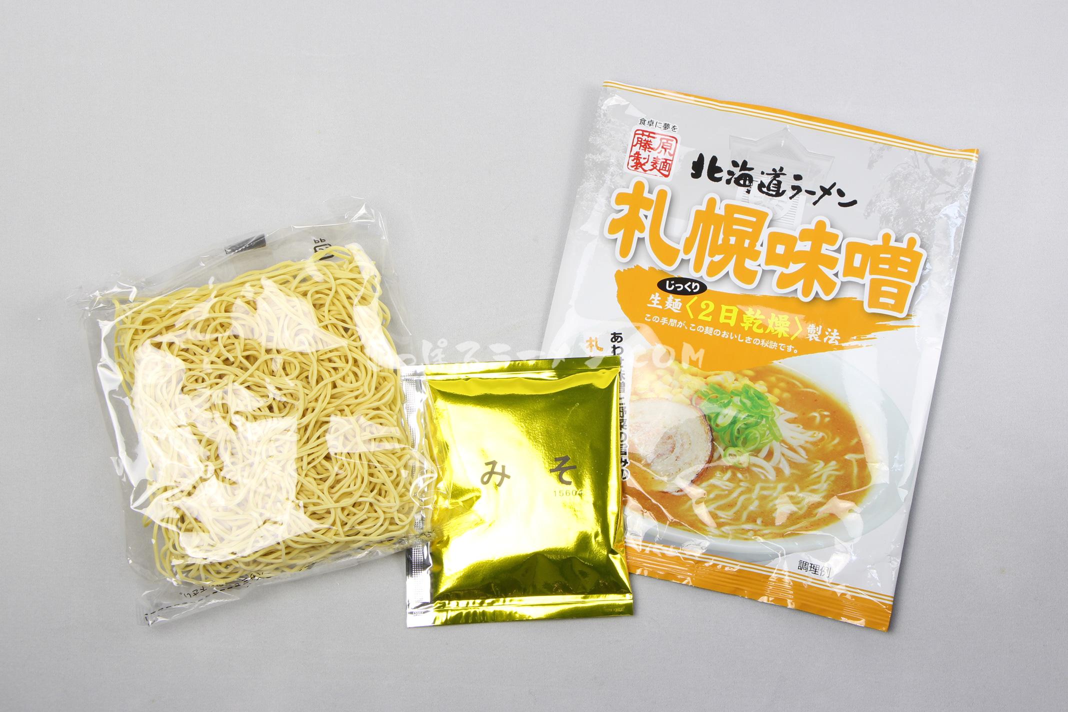 「北海道ラーメン札幌味噌」(藤原製麺)の麺とスープ